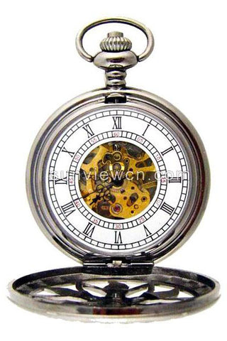 Steampunk Pocket Watch with Gunmetal Flower Design | Angel Clothing