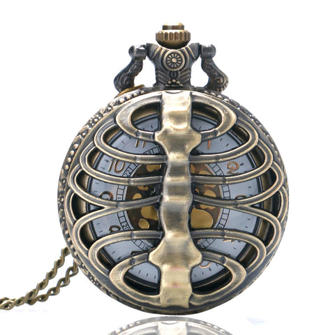Steampunk Pocket Watch with Ribcage on Necklace Chain | Angel Clothing
