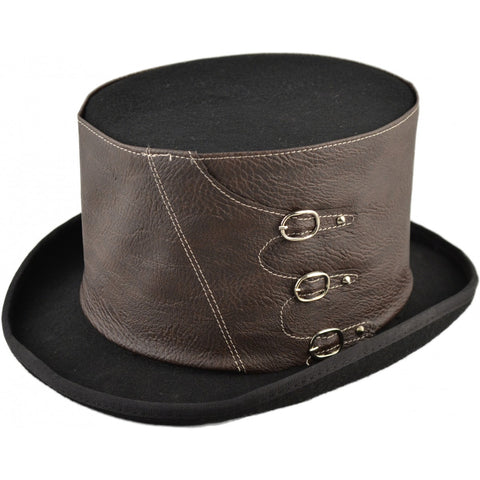 Steampunk Top Hat with Buckled Faux Leather Hat Band - Angel Clothing