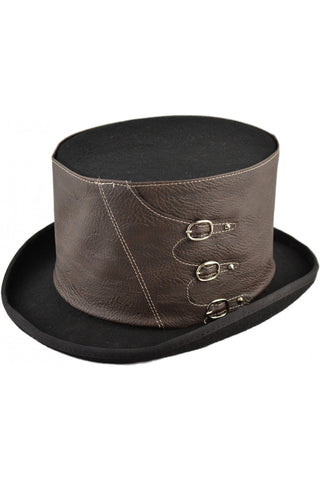Steampunk Top Hat Faux Leather Band | Angel Clothing