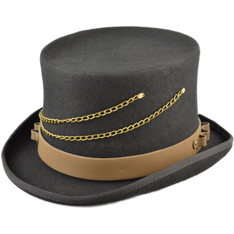 Steampunk Top Hat with Faux Leather Hat Band and Chains - Angel Clothing