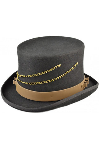 Steampunk Top Hat with Faux Leather Hat Band and Chains | Angel Clothing