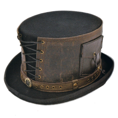Steampunk Top Hat with Laced Brown Leather Hat Band - Angel Clothing