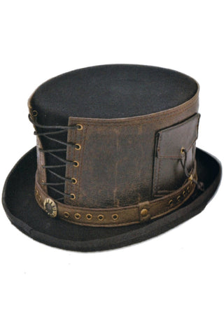 Steampunk Top Hat with Laced Brown Leather Hat Band | Angel Clothing