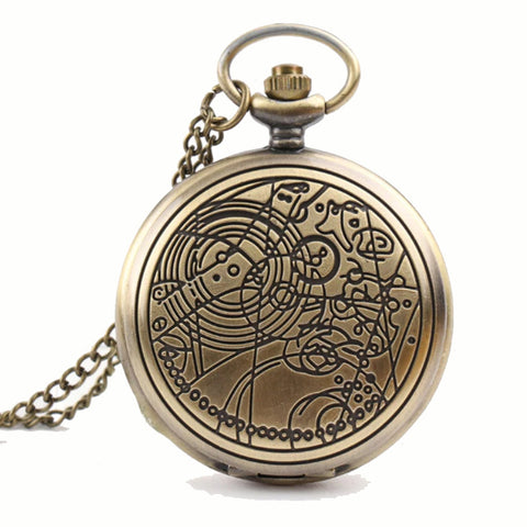 Alien Symbols Steampunk Pocket Watch on Necklace Chain | Angel Clothing