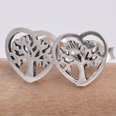 Tree of Life Heart Stud Earrings 925 Sterling Silver - Angel Clothing