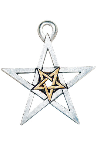 Two Tone Double Pentagram Necklace | Angel Clothing