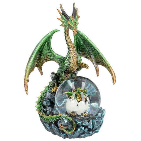 Emerald Oracle Dragon with Baby Dragon in Crystal Ball 19cm | Angel Clothing