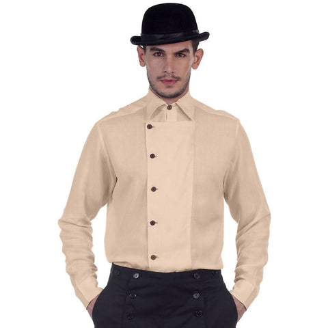 Ulysses Side Button Steampunk Shirt Almond | Angel Clothing