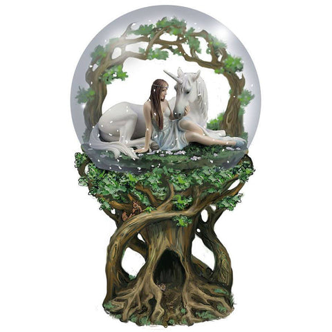 Anne Stokes Pure Heart Unicorn Snowglobe 18cm | Angel Clothing