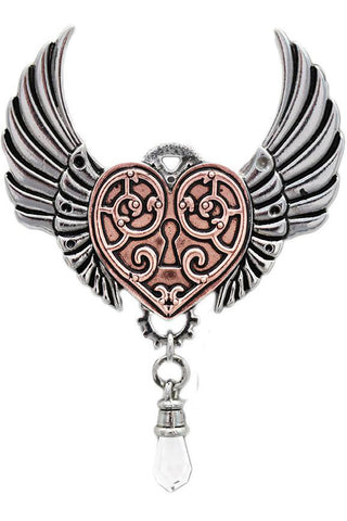 Steampunk Engineerium Valkyrie Heart Pendant | Angel Clothing