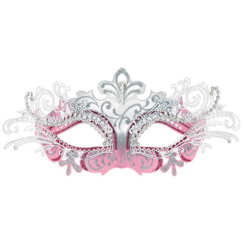 Venetian Mask -  Luxury Metal Filigree Mask in Pink and Silver | Angel Clothing