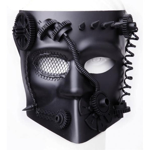 Venetian Steampunk Mask with Gears and Spikes. BLACK | Angel Clothing