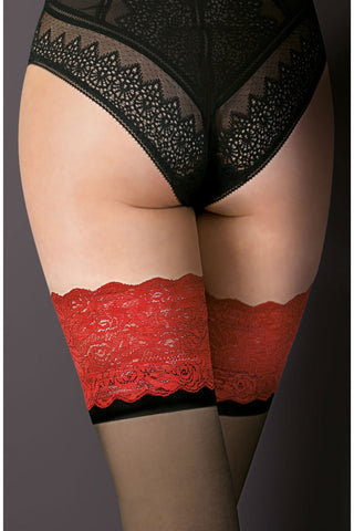 Gabriella Victoria Hold Ups Stockings Black/Red | Angel Clothing