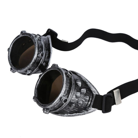 Victorian Industrial Antique Silver Tone Studded Steampunk Goggles with Decorative Nuts - Angel Clothing