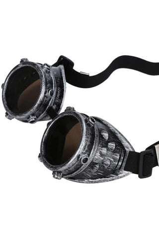 Victorian Antique Silver Studded Steampunk Goggles | Angel Clothing