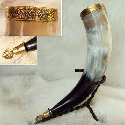 Viking Ceremonial Drinking Horn With Brass Lions Head and Iron Stand - Angel Clothing