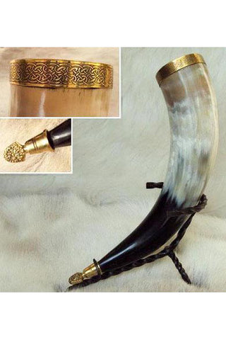 Viking Ceremonial Drinking Horn, Brass Lions Head | Angel Clothing