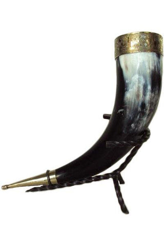 Viking Ceremonial Drinking Horn with Iron Stand | Angel Clothing