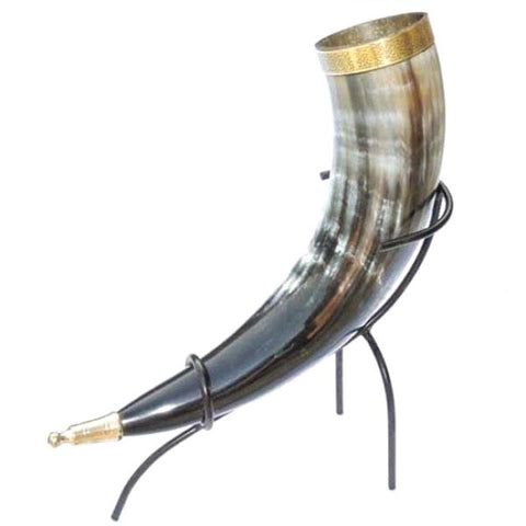 Viking Drinking Horn with Round Head Terminal and Iron Stand - Angel Clothing