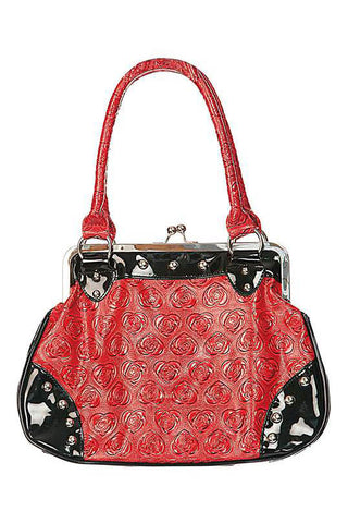 Voodoo Vixen Black & Red Rose Pattern Handbag | Angel Clothing
