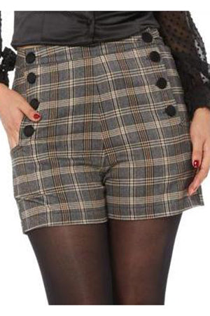 Voodoo Vixen Whitney Steampunk Plaid Shorts | Angel Clothing