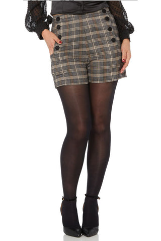 Voodoo Vixen Whitney Steampunk Plaid Shorts - Angel Clothing