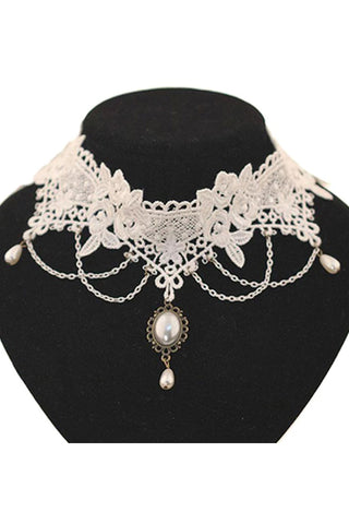 White Lace Choker with Pearl Drop | Angel Clothing