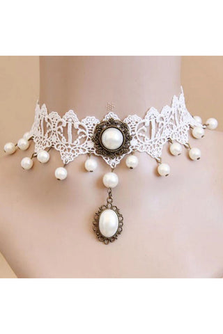 White Lace Steampunk Choker with Pearl Detail | Angel Clothing