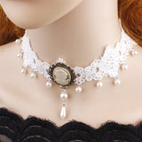 White Lace Steampunk Cameo Choker | Angel Clothing