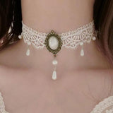 White Lace Steampunk Choker with Pearl Drops | Angel Clothing