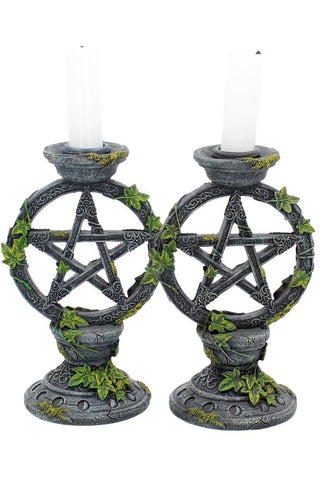 Wiccan Pentagram Candlesticks | Angel Clothing