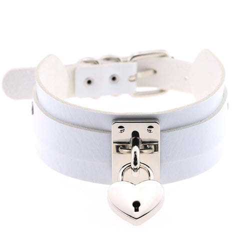 White Heart Padlock Collar | Angel Clothing