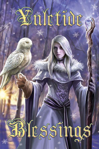 Winter Owl Yuletide Card by Anne Stokes | Angel Clothing