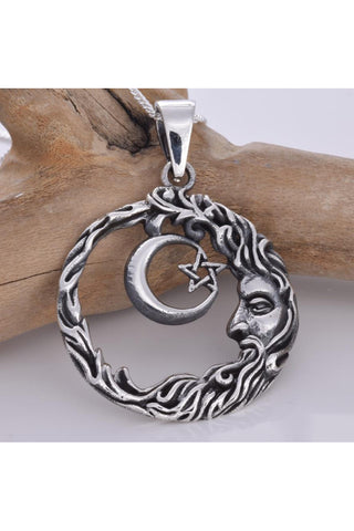 Wise Man Crescent Moon 925 Silver Pendant | Angel Clothing
