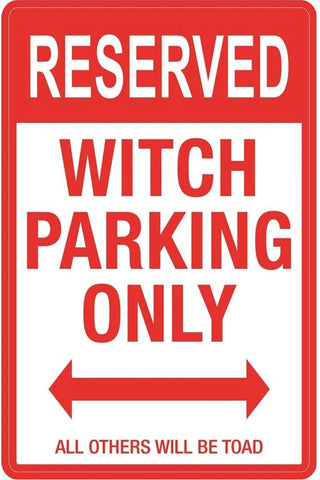 Witch Parking Metal Sign 43cm | Angel Clothing