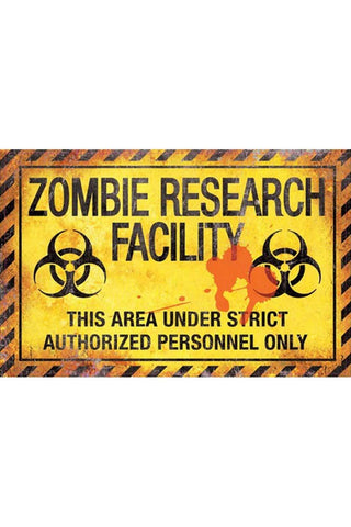 Zombie Research Facility Metal Sign 43cm | Angel Clothing