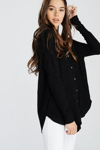 Long Sleeve Button Down Thermal-Black