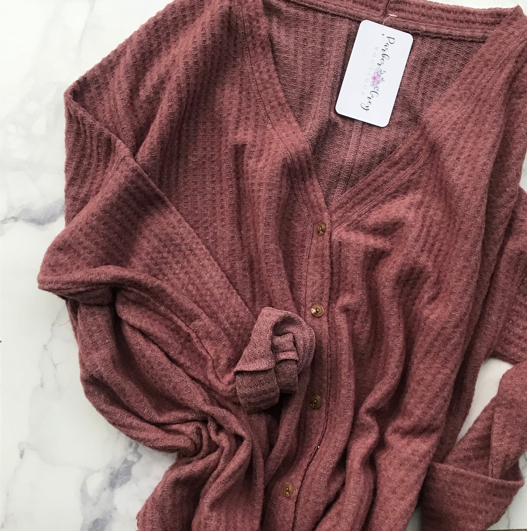 Long Sleeve Button Down Thermal-Mauve