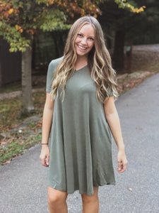 T-Shirt Dress-Army Green