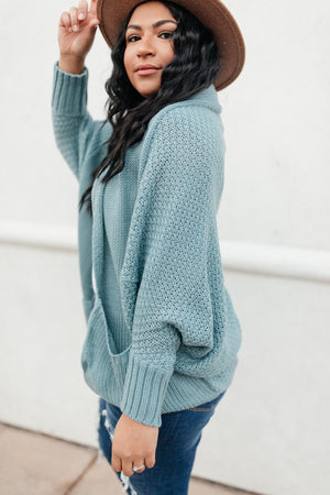 Not Your Grandmother's Cardigan in Dusty Blue