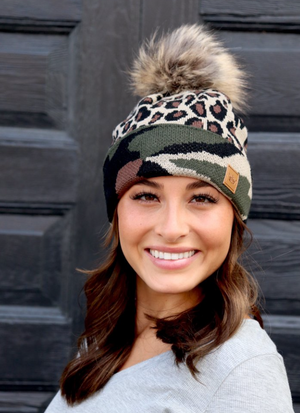 Camo and Leopard Beanie