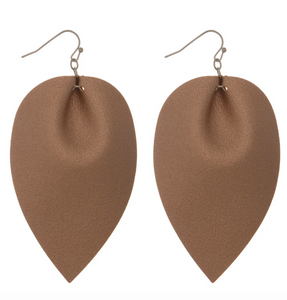 Faux Leather Earrings- Rose Gold