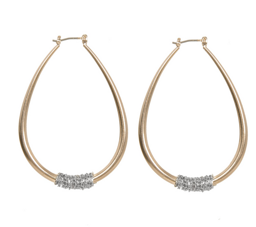 Gold Chained Hoop Earring
