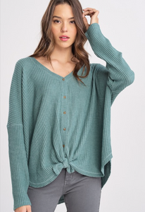 Long Sleeve Button Down Thermal-Pistachio
