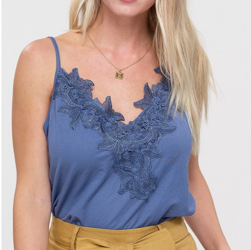 Crochet Patch Cami-Blue