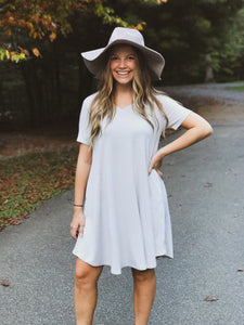 T-Shirt Dress-Grey Mist