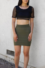 Load image into Gallery viewer, Olive Green Ribbed Mini skirt