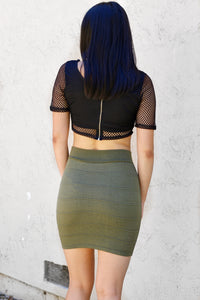 Olive Green Ribbed Mini skirt