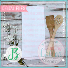 Load image into Gallery viewer, TEA TOWEL MOCK UP FLAT LAY WITH WHITE FLOWERS ACCENT PHOTO BCJZ